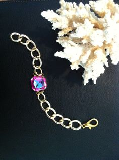 My 'Jackie' bracelet with golden chain. Also available with silver chain.