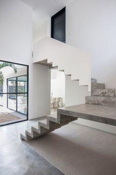 U-shaped concrete staircase
