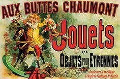 Aux Buttes Chaumont Jouets - Vintage Advertising Poster - Poster que fica em cima da TV na sala da Monica e Rachel, de Friends