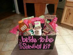 For my friends bachelorette party I made her a bride-to-be survival kit. :)