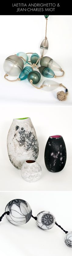"""Artistes verriers en duo, Laetitia Andrighetto & Jean-Charles Miot créent des œuvres originales en verre contemporain. 1/ """"ACCASTIES, les SUIVEURS"""", ensemble de flotteurs en verre soufflé 2/ """"KIVI"""" / Vases en verre soufflé 3/ Accasties, Morgans Memoria (c) DR"""