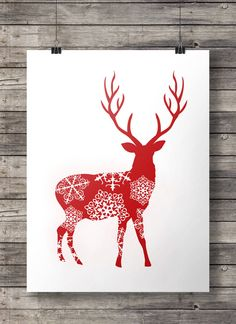 Printable art | Charcoal and red snowflake deer stag prints | Winter Christmas decor | Scandi snowflake deer | Set of 2 | Printable wall art MADE WITH LOVE ♥ This listing is for an INSTANT DOWNLOAD of the PDF file of this artwork. A download link (without watermark) will be sent to you