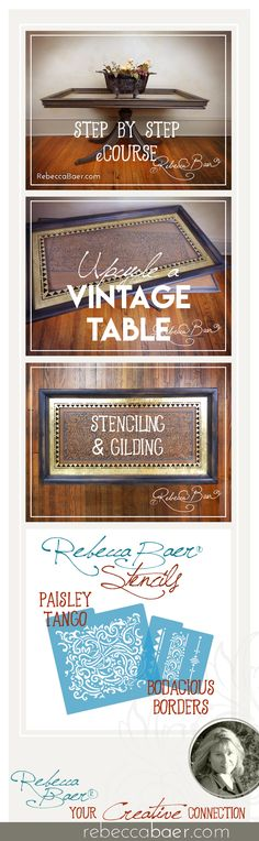 An online workshop with techniques for chalk painting and gilding your vintage furniture. Stenciling Furniture, Furniture Painting Techniques, Acrylic Furniture, Painted Furniture, Upcycled Furniture, Table Furniture, Vintage Furniture, Chalk Painting, Stencil Painting
