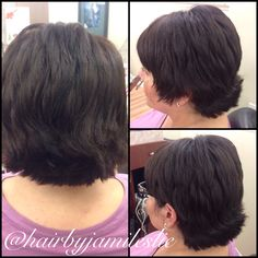 An adorable short cut with short layers on an extremely natural mahogany beige base. Hair by Jami Leslie. Tiger Tail Salon- Carlsbad CA