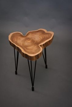 Teak Slab End Table via @Bureau Salomé of Trade