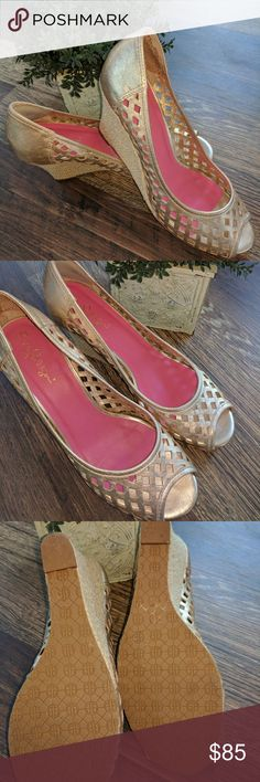 Lilly Pulitzer Resort Shoes Gold basket weave design with open toe. Barley worn. Does have stick on slip pad in back of heel to prevent heel from sliding but can be removed. Cute with a Lilly dress! Lilly Pulitzer Shoes Wedges