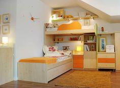 R82 - Dormitorio juvenil con litera en L y cama nido, cajones y estantes de colgar - Facil Mobel, fábrica de muebles a medida en barcelona, catálogo de armarios, juveniles, salones, dormitorios matrimoniales y complementos. Ofertas y solicitud de presupuestos.