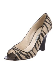 c8511ff5f4e6c Black and brown canvas Brian Atwood peep-toe wedge pumps with tonal  stitching and stacked