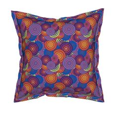 Serama Throw Pillow featuring CRAZY RAINBOW CIRCLES PSYCHEDELIC orange purple blackcurrant peach beet by paysmage   Roostery Home Decor