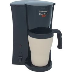 Black & Decker DCM18 Brew 'n Go Personal Coffee Maker, 15 oz. (450 ml) Thermal Mug, Brew 'n Go® System, Permanent Filter, Optimal Brewing Temperature, Coffee Ready Signal, Cord Storage, Lighted On/Off Switch, Convenient Storage Size