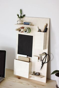 DIY Desk Organizer. This would be perfect to keep my craft room work space organized.