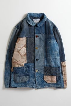 [POGGY THE MAN] SASHIKO COVERALL 10YR Mens Club Outfit, Club Outfits, Night Outfits, Denim Jacket Men, Men Shorts, Men's Denim, Denim Jackets, Denim Patchwork, Denim Outfit