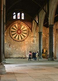 Great Hall at Winchester Castle - On the back wall is a round table belonging to King Edward 1st, circa 1272