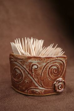 Ceramic Pottery Toothpick Holder by CaliforniaSoulshine on Etsy, $9.00.  My dad might like this.