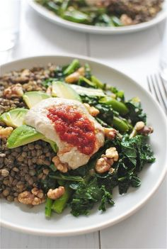 Bev Cooks: Lentils with Garden Vegetables, Avocados, Walnuts and Hummus