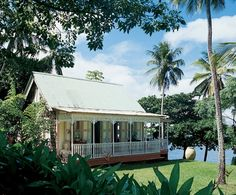 """St. Lucia, in the West Indies  Part of the main structure, built circa 1910, was moved from Vieux Fort, a St. Lucian village. """"These are called chattel houses,"""" says Glenconner. """"During slavery, laborers weren't allowed to own the land, only the house, so they built houses that could be moved."""""""