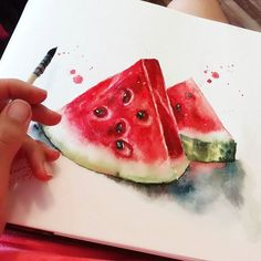 Ideas For Fruit Artwork Watercolour Beautiful Watercolor Fruit, Watercolor Journal, Watercolor Art Paintings, Fruit Painting, Watercolors, Watermelon Drawing, Watermelon Art, Strawberry Drawing, Watermelon Painting