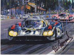 Elford racing the Porsche - Le Mans 1971 - Nicholas Watts Greeting card Vic Elford racing the Porsche – Le Mans 1971 – Nicholas .Vic Elford racing the Porsche – Le Mans 1971 – Nicholas . Ford Gt40, Porsche, Moto Guzzi, Mazda, Jaguar, Le Mans 24, Martini, Speed Art, Car Illustration