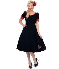 Black & Red 8 Ball Cherry Knit Swing Dress