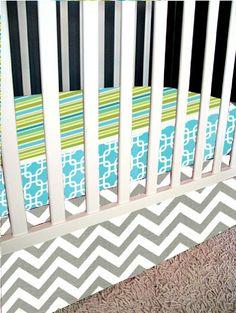 Modern Bumperless Aqua, Gray and Lime Crib Set. $175.00, via Etsy.