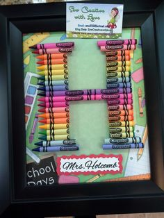 Teacher gift - crayon letter framed art letter h diy crayons, crayon crafts, crayon Crayon Monogram, Crayon Letter, Diy Crayons, Crayon Crafts, Crayon Ideas, Letter A Crafts, Monogram Letters, Teacher Appreciation Gifts, Teacher Gifts