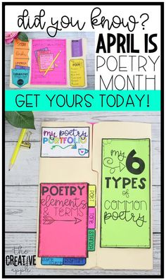 Celebrate poetry month with your students with this interactive and fun poetry lesson. Teaching poetry can be fun and engaging! poetry | teaching poetry | lapbook | interactive notebook | foldables