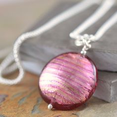 Vivacious Ruby Murano Venetian Glass sterling silver necklace
