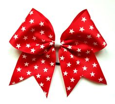 Cheerleading Hair Bow 3 inch Stars Ribbon by LuckyGirlCheerBows on Etsy, $6.00