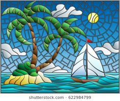 Illustration in stained glass style with the seascape, tropical island with palm trees and a sailboat on a background of ocean , sun and cloudy sky Glass Painting Designs, Paint Designs, Cuba Art, Beautiful Nature Pictures, Tropical Art, Glass Wall Art, Mosaic Designs, Stained Glass Patterns, Happy Colors