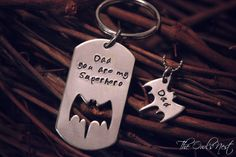 Great idea for Father's Day gift from his little girl. Hand Stamped Father Daughter Key Chain Necklace Set Superhero Batman