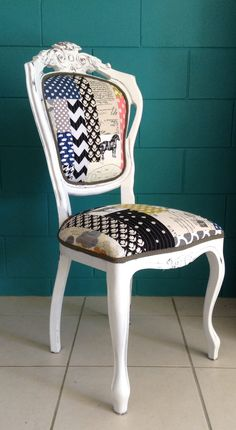 Quirky quilted patchwork upholstery. Milk paint furniture. Three Sisters Design on Facebook
