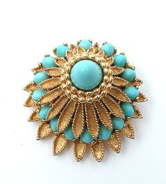 Designer BOUCHER Brooch Sunburst Glass Turquoise by kiamichi7