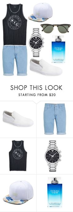 """""""L.2"""" by hannahjerao on Polyvore featuring Calvin Klein, Topman, Aéropostale, Emporio Armani, Vans, Karl Lagerfeld, Ray-Ban, men's fashion and menswear"""