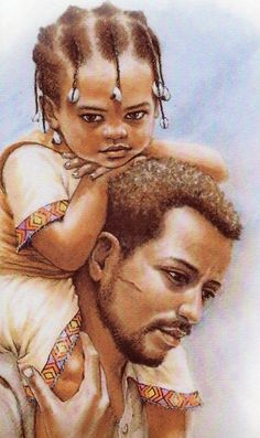 afro-art-chick:    Long Trip. Man and child. Men nurture kids and traditionally are referred to as having given birth to a child like a women- Artwork by Adis Gebru of Ethiopia