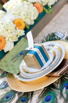 peacock place setting and favor box