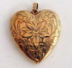 BEAUTIFUL Edwardian ESEMCO 10K Yellow Gold Engraved Floral Heart Locket #ESEMCO #Locket