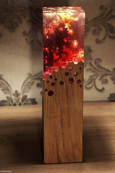 Wood lamp made with acrylic glass looks like it's burning - 9GAG