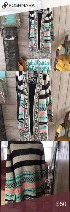 Print fringe cardigan openfront woman size & plus Beautiful open front cardigan with fringe bottom this is a beautiful print soft acrylic and poly blend fits true to size and is sizes s/m. And l/xl. And xxl sizes Sweaters Cardigans