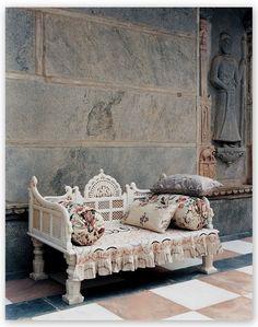 India pillows chaise antique white