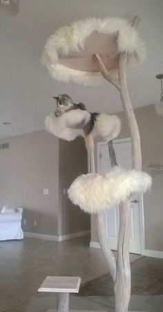 Would be easy to adapt current cat tree with fluffy mats. Home Catinista Luxury Pet Designs Cat Furniture Crazy Cat Lady, Crazy Cats, I Love Cats, Cool Cats, Cool Cat Trees, Diy Cat Tree, Gatos Cats, Cat Room, Pet Furniture