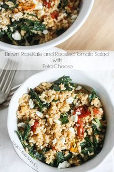 This Brown Rice, Kale and Roasted Tomato Salad with Feta Cheese is a healthy dinner recipe, bursting with amazing flavors! AD MinuteMealsSweeps