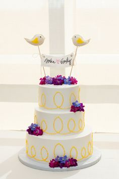 Love Birds Wedding Cake Topper personalized banner