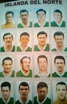 Northern Ireland team stickers for the 1958 World Cup Finals.
