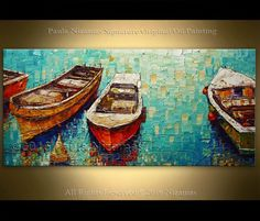 Oil Painting on canvas Palette Knife landscape Fine art by Nizamas Boats ready to hang