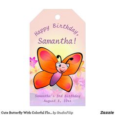 Cute Butterfly With Colorful Flowers Gift Tags