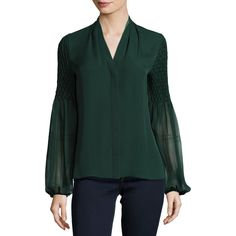 Elie Tahari Georgia Smocked Long-Sleeve Silk Blouse featuring polyvore women's fashion clothing tops blouses green women's apparel tops v neck blouse green long sleeve blouse silk top pleated blouse long sleeve tops