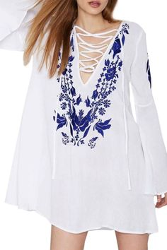 Women's Floral Print Lace-up Front Flare Sleeve Dress