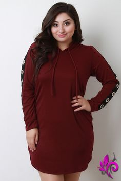 08357c16add Plus Size Mini Dresses · Grommet Long Sleeves Hoodie Dress