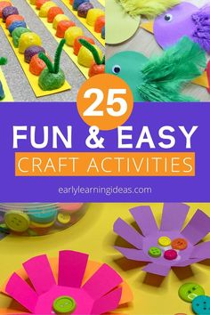Check out 25 popular craft projects to do with kids. Use this visual library to find lots of fun activities to make with your preschoolers at home. Bug Crafts, Crafts To Do, Easy Crafts, Crafts For Kids, Preschool Activities At Home, Spring Activities, Color Activities, All About Me Crafts, Easy Craft Projects