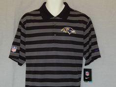a8258253 Baltimore Ravens Polo Shirt MENS Size Large Nike Dri-Fit Wicking NFL Black  Logo…